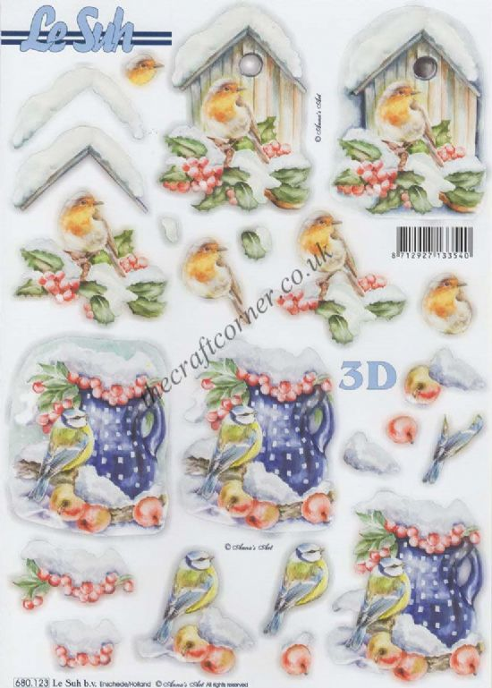 Christmas Robin & Blue Tit Birds Die Cut 3d Decoupage Sheet
